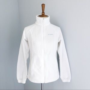 White Columbia Fleece Zip Up Jacket Size Medium
